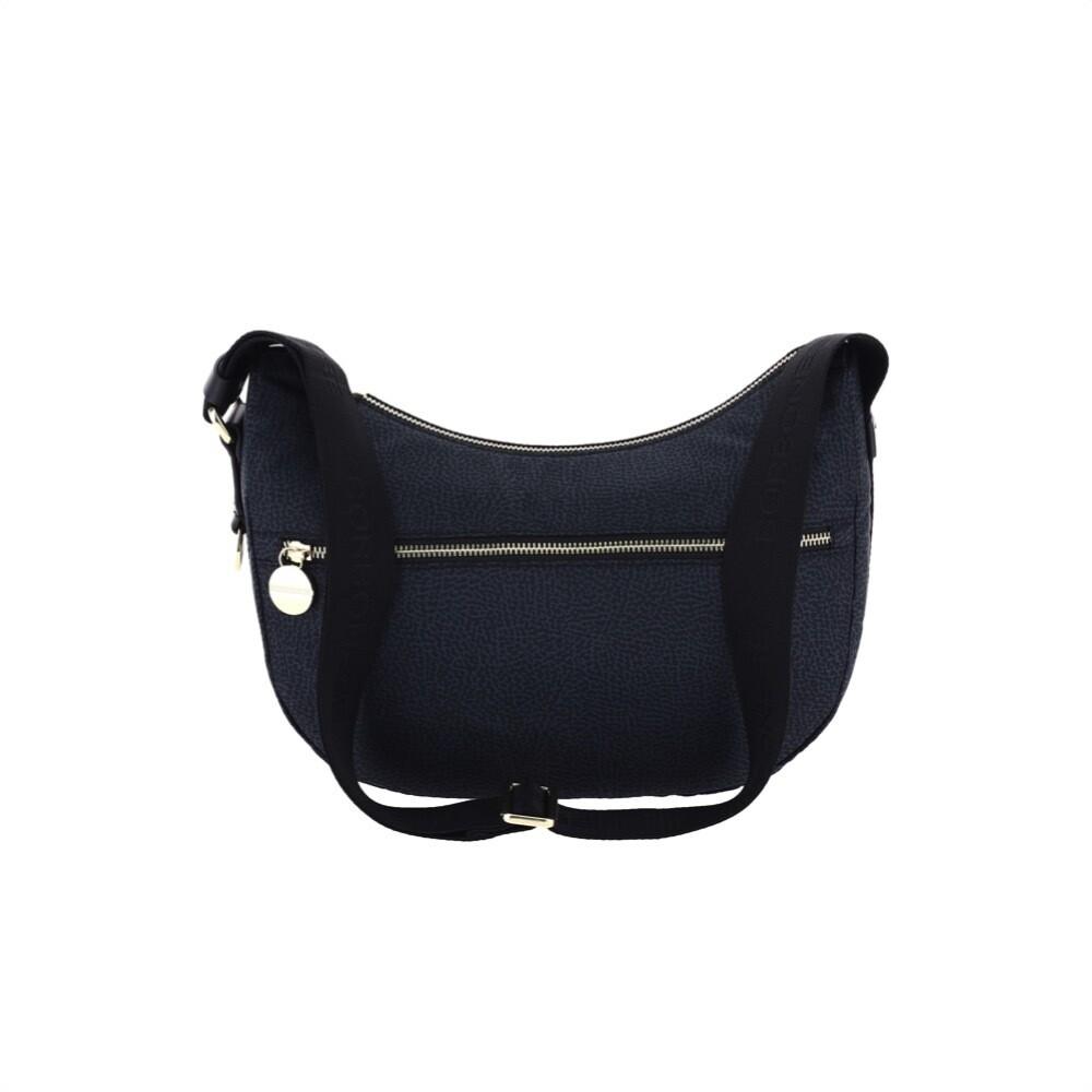 BORBONESE - Luna Bag Small in Jet OP con tasca - Black