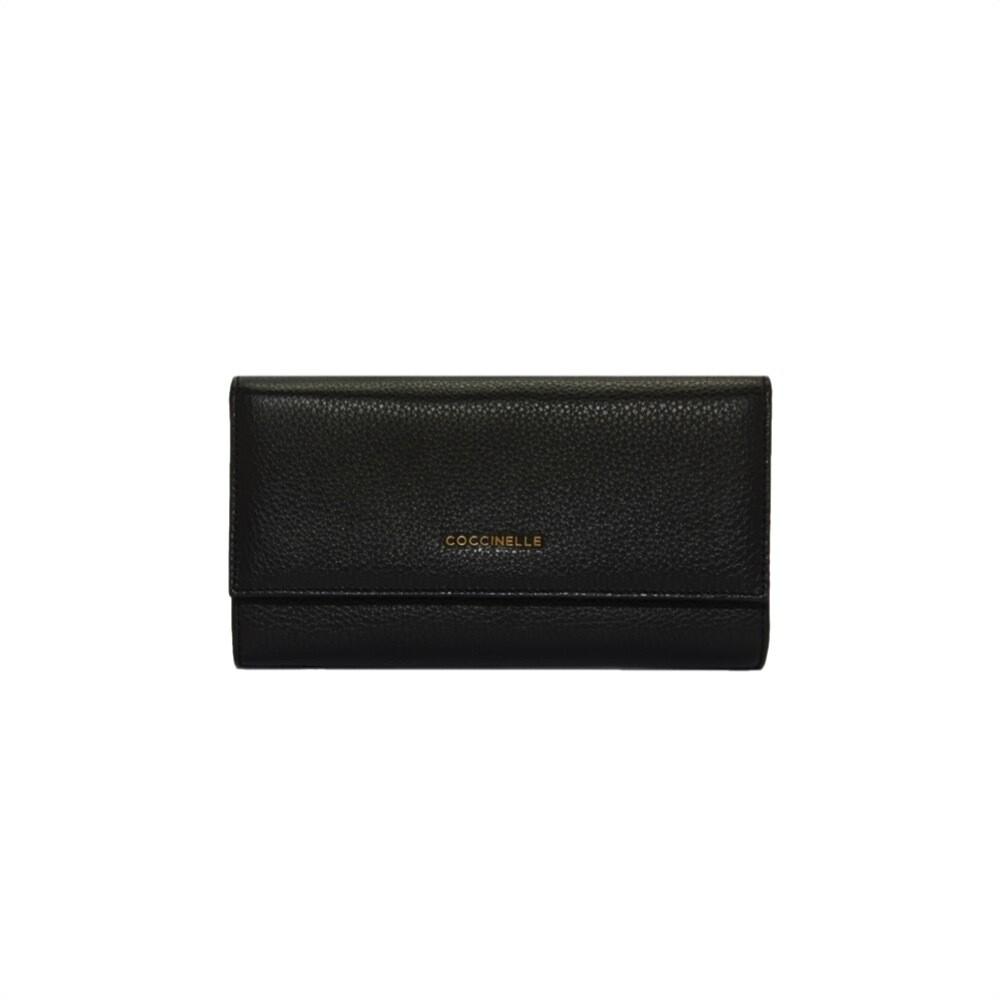 COCCINELLE - Metallic Soft Portafoglio Maxi - Noir