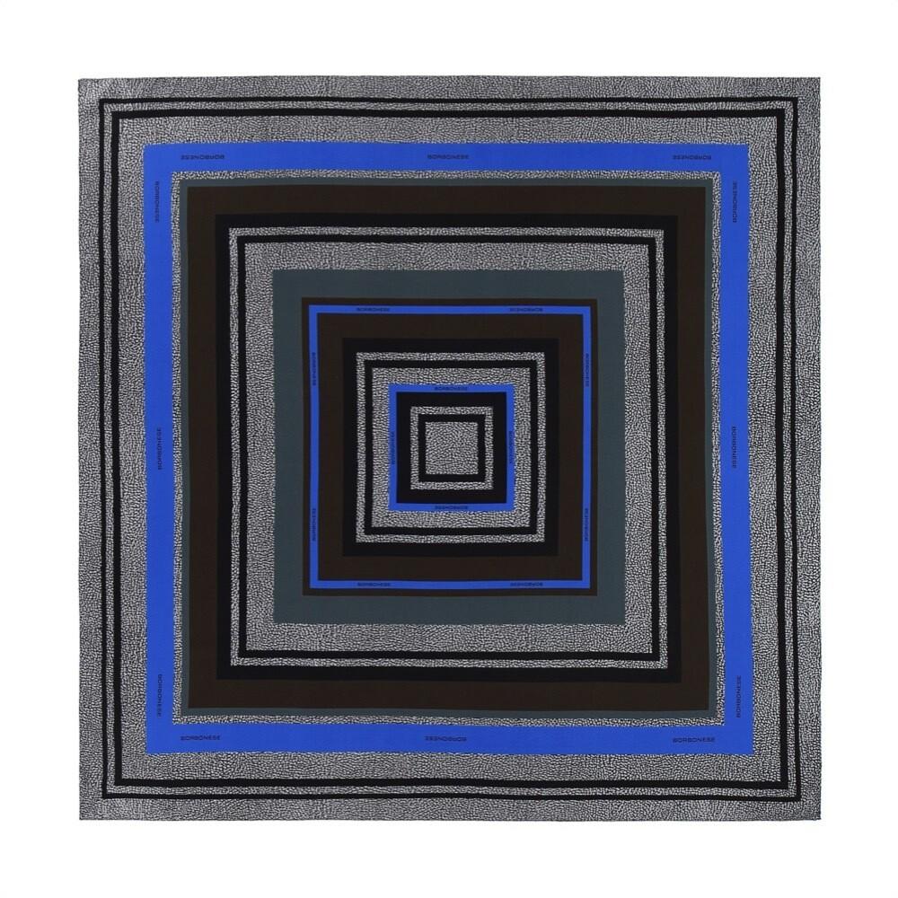 BORBONESE - Foulard stampa geometrica 90x90 - Pewter/Klein