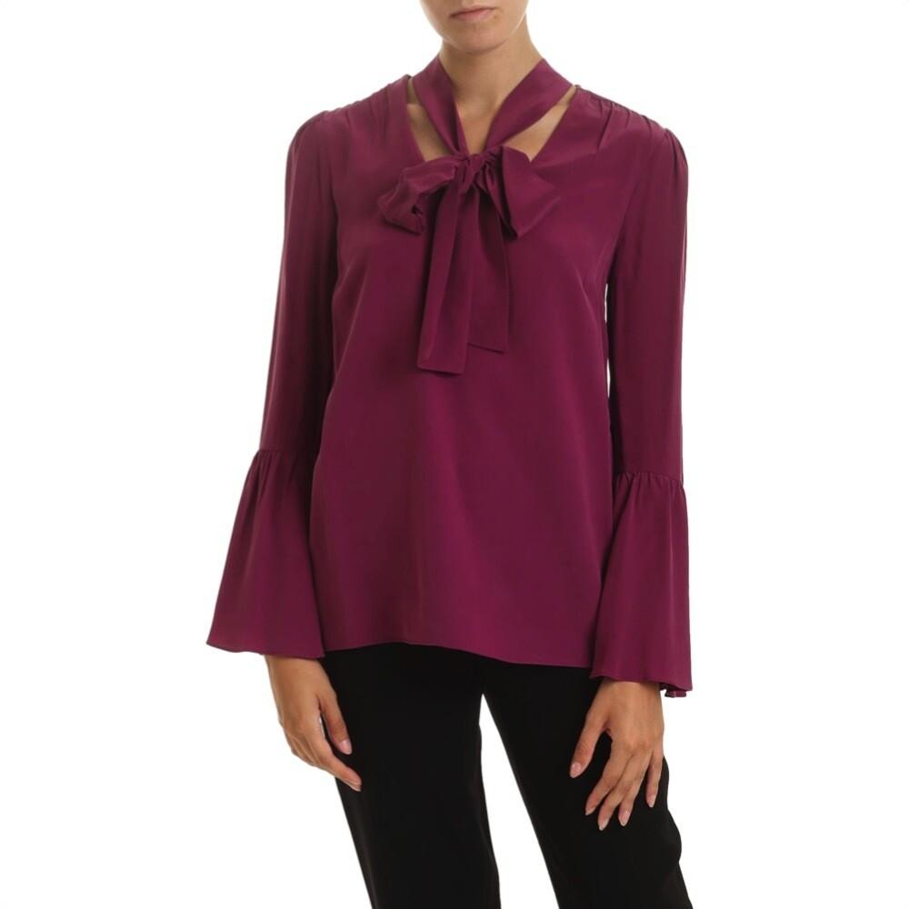 MICHAEL KORS - Camicia in seta con fiocco - Garnet