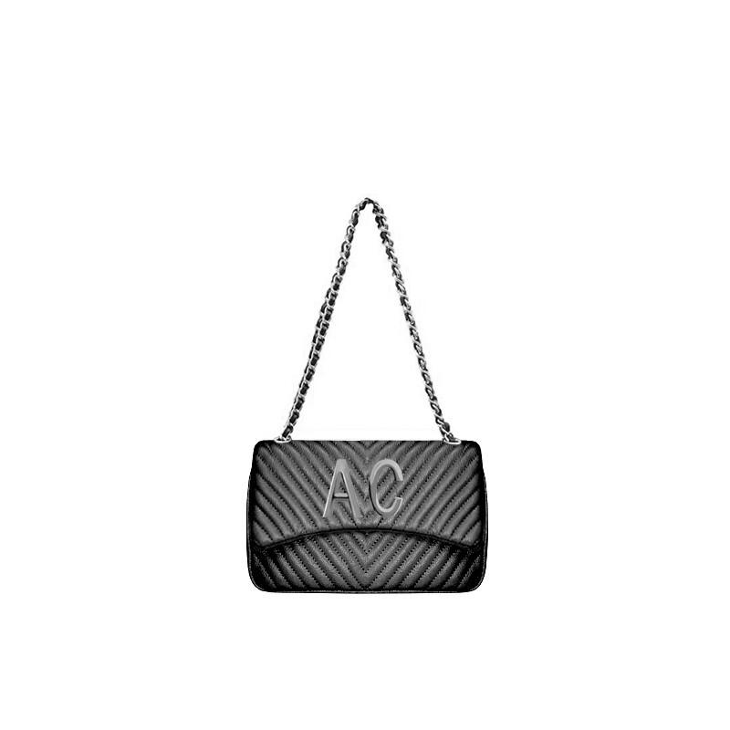 MIA BAG - Tracolla media Personalizzabile - Nero con finiture ARGENTO