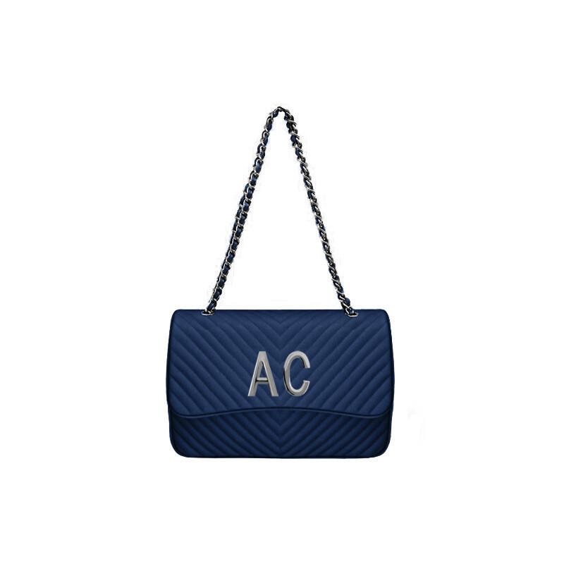 MIA BAG - Tracolla grande (misura CLASSICA) Personalizzabile - Blu con finiture ARGENTO
