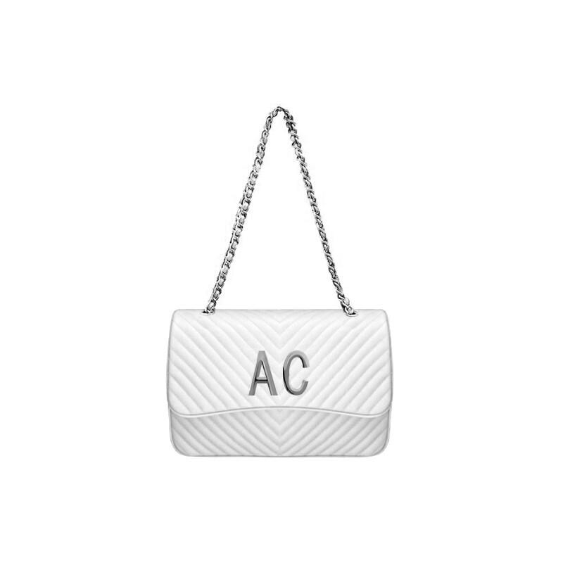 MIA BAG - Tracolla grande (misura CLASSICA) Personalizzabile - Bianca con finiture ARGENTO