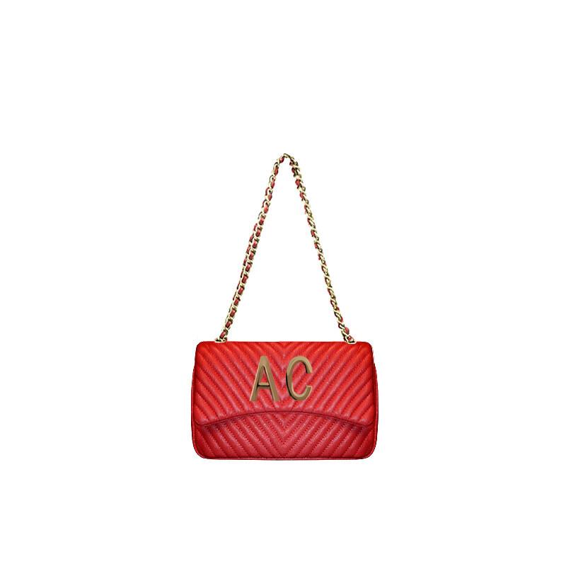 MIA BAG - Tracolla media Personalizzabile - Rosso con finiture ORO