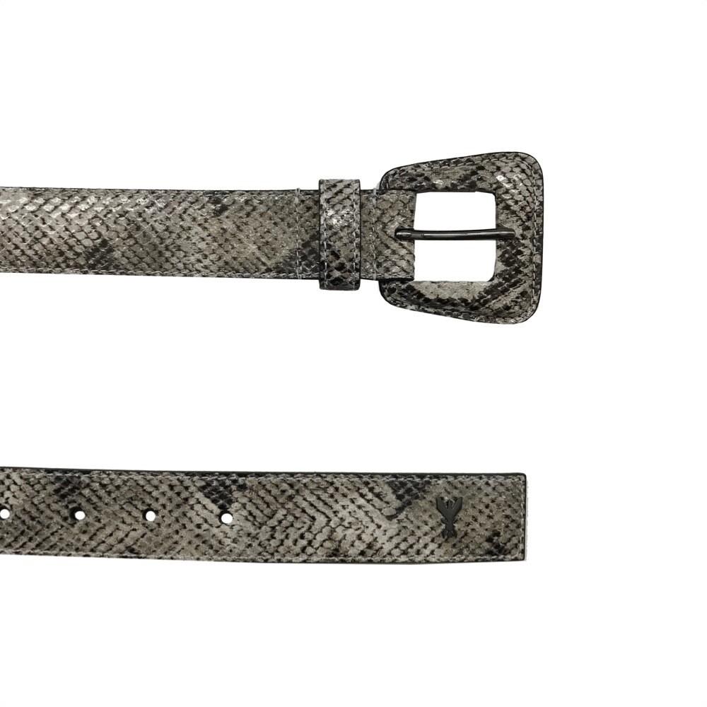 PATRIZIA PEPE - Cintura bassa con fibbia in pelle - Grey Python