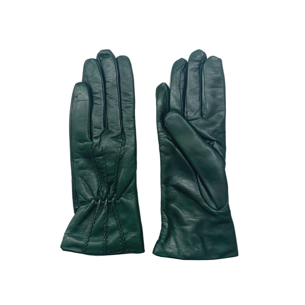 SERGIO DE ROSA - Guanti in pelle e lana con cuciture - Verde