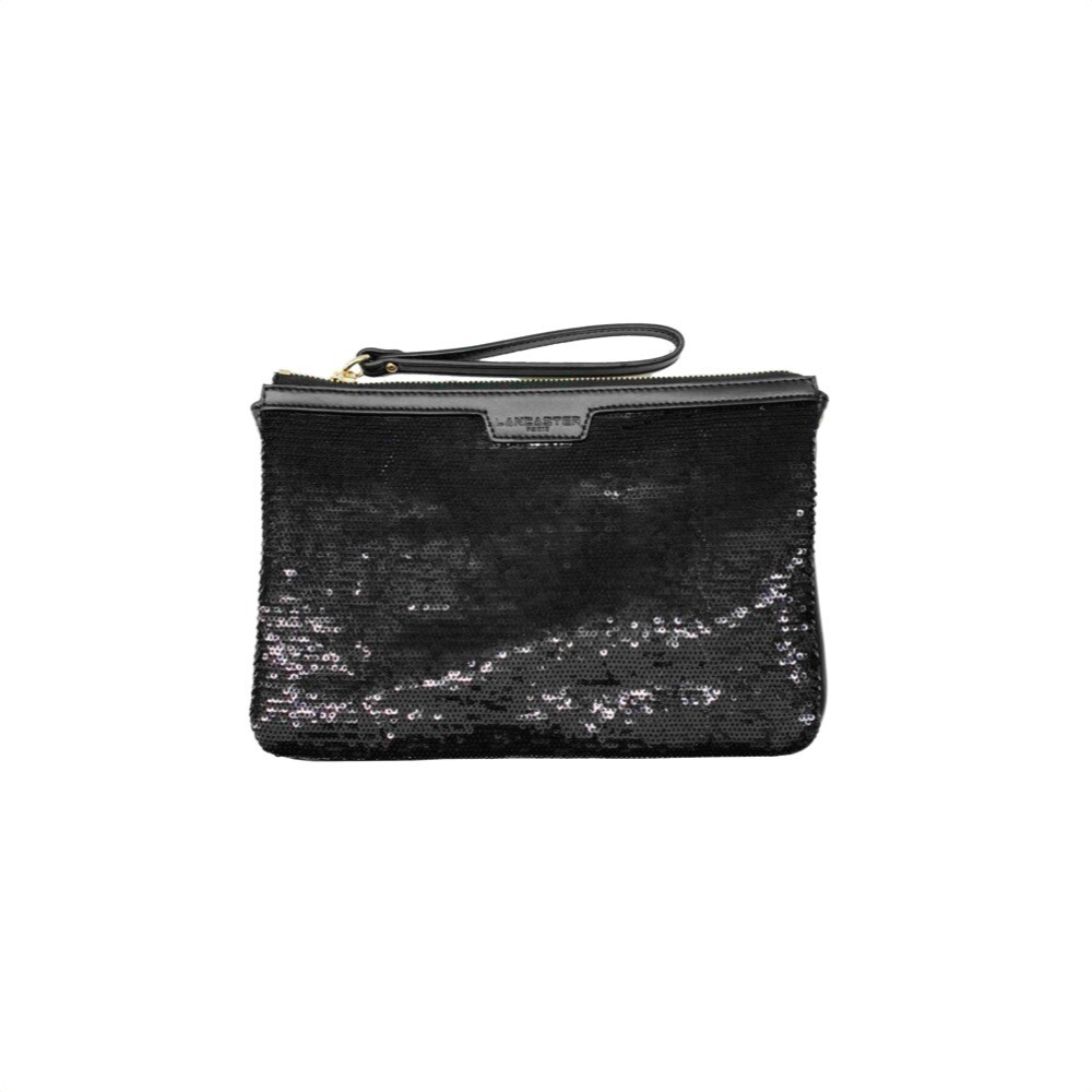 LANCASTER - Actual Shiny Sequil Pochette - Noir