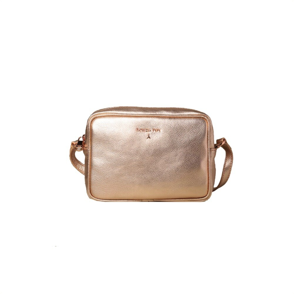 PATRIZIA PEPE - Camera Bag in pelle - Oro Rose