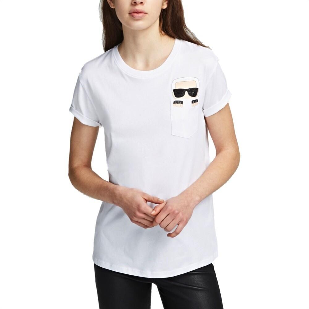 KARL LAGERFELD - T-shirt Karl Ikonik con Taschino - White