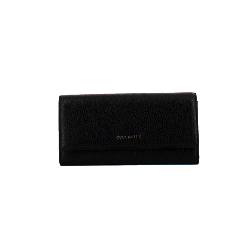 COCCINELLE - Metallic Soft Portafoglio Grande - Noir