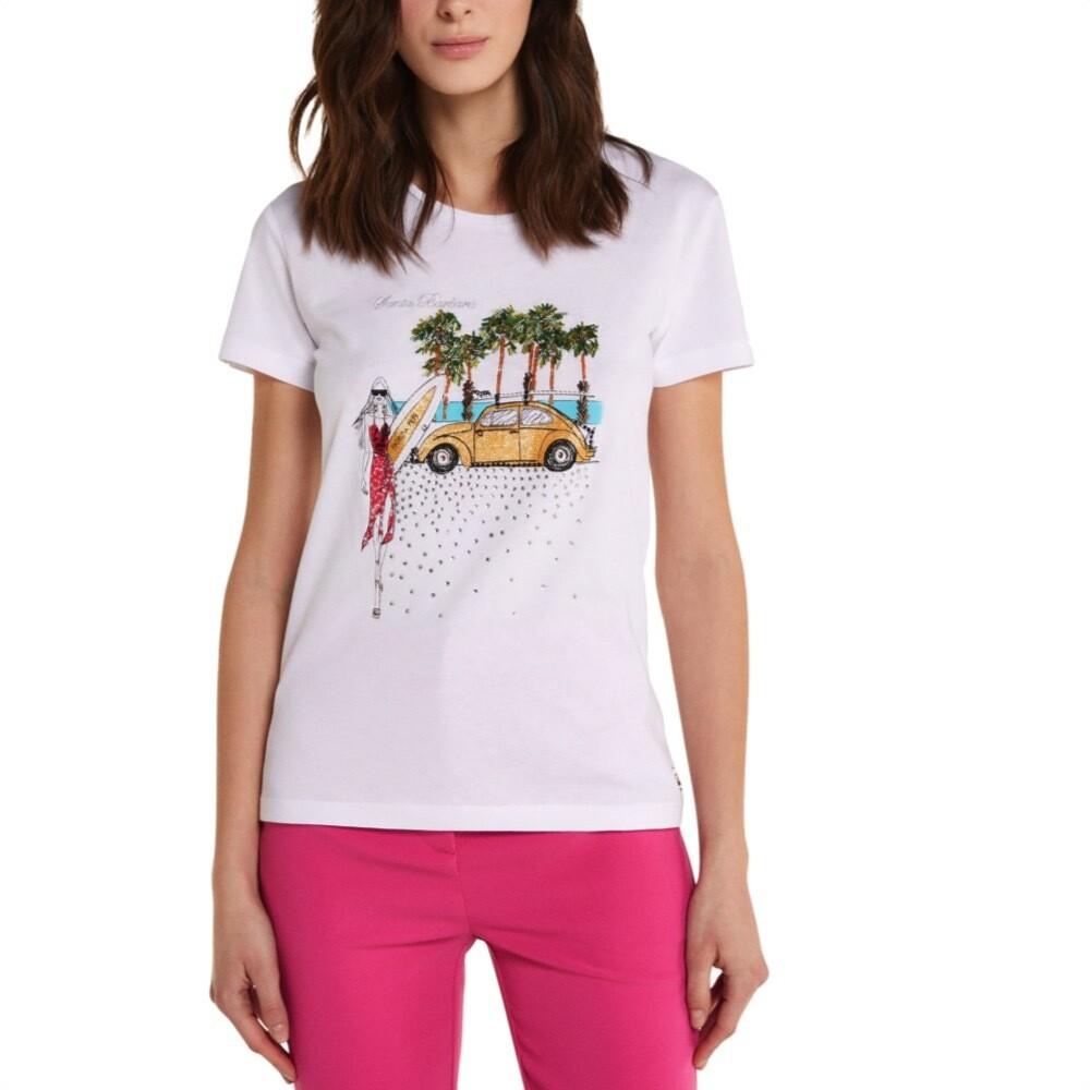 "PATRIZIA PEPE - T-shirt stampa ""City"" Santa Barbara - Bianco"