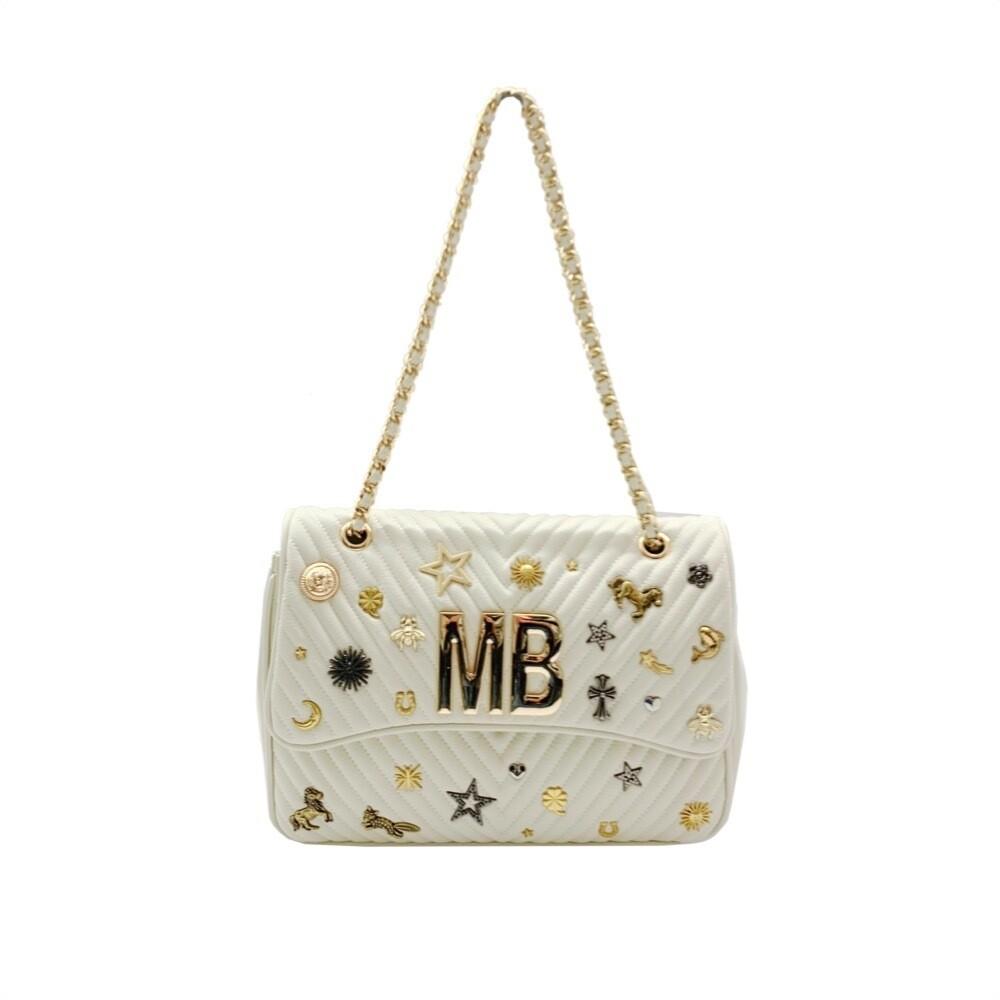 MIA BAG - Tracolla Studs Lux - Bianco