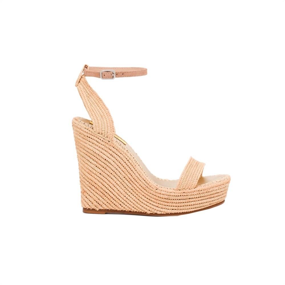 PATRIZIA PEPE -  Sandalo con zeppa in rafia - Sand