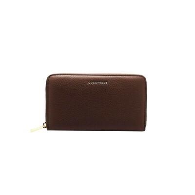 COCCINELLE - Metallic Soft Portafoglio Grande Zip Around - Chocolate