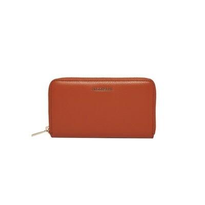 COCCINELLE - Metallic Soft Portafoglio Grande Zip Around - Tan