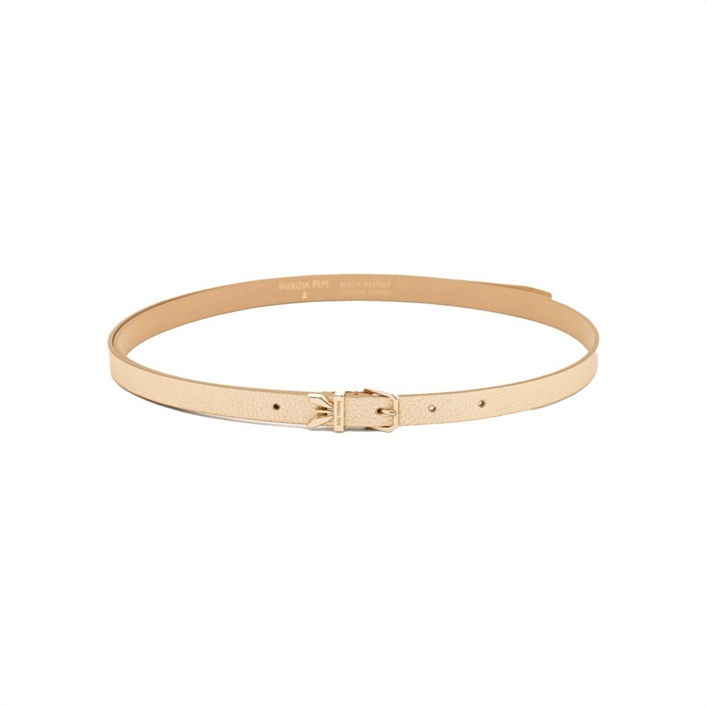 PATRIZIA PEPE - Cintura Clachette vita alta pelle - Gold Star