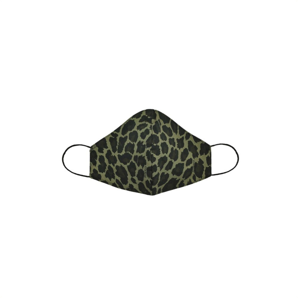 PINKO - Mascherina sagomata leopardata - Nero/Verde