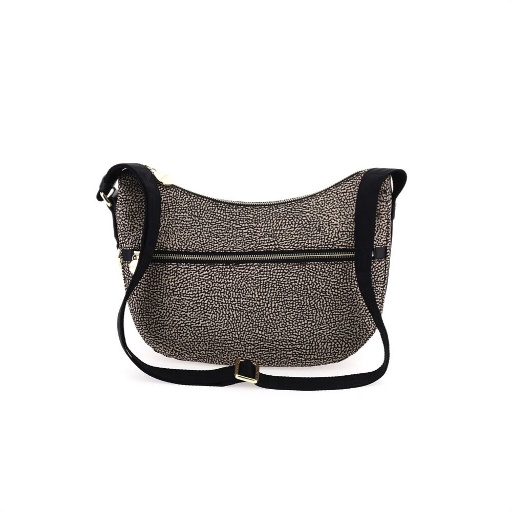 BORBONESE - Luna Bag Small Nylon Riciclato OP con zip - OP Natural/Black