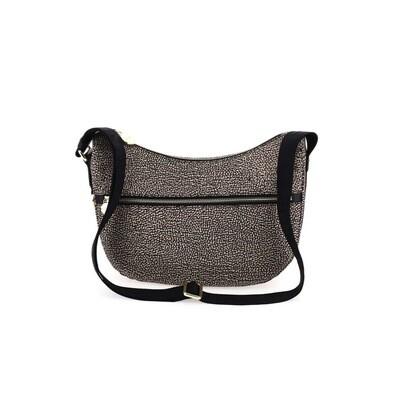 BORBONESE - Luna Bag Small Nylon Riciclato OP con zip - OP Natural/Black