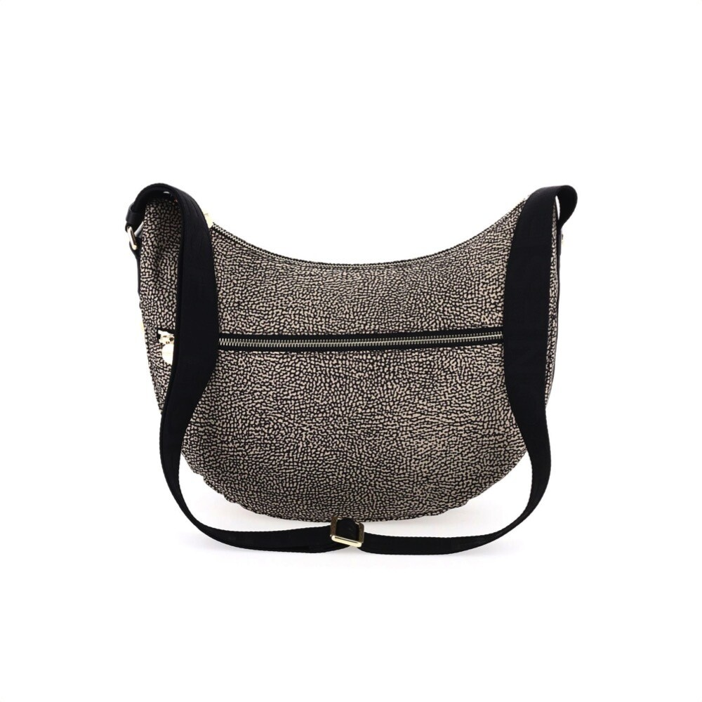 BORBONESE - Luna Bag Middle Nylon Riciclato OP con zip - OP Natural/Black