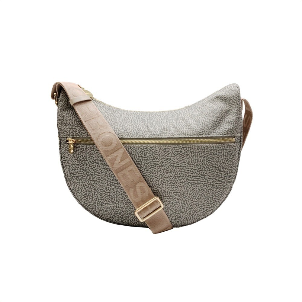 BORBONESE - Luna Bag Middle Nylon OP con zip - Taupe
