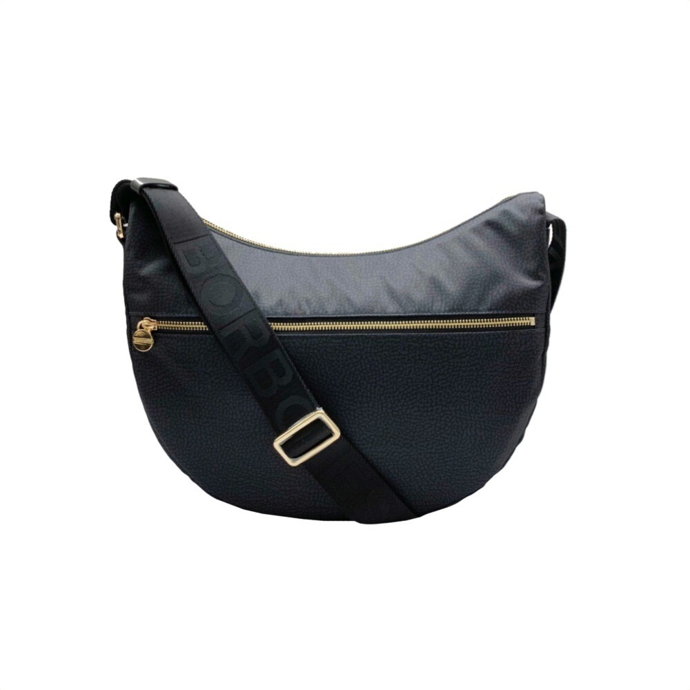 BORBONESE - Luna Bag Middle Nylon OP con zip - Black