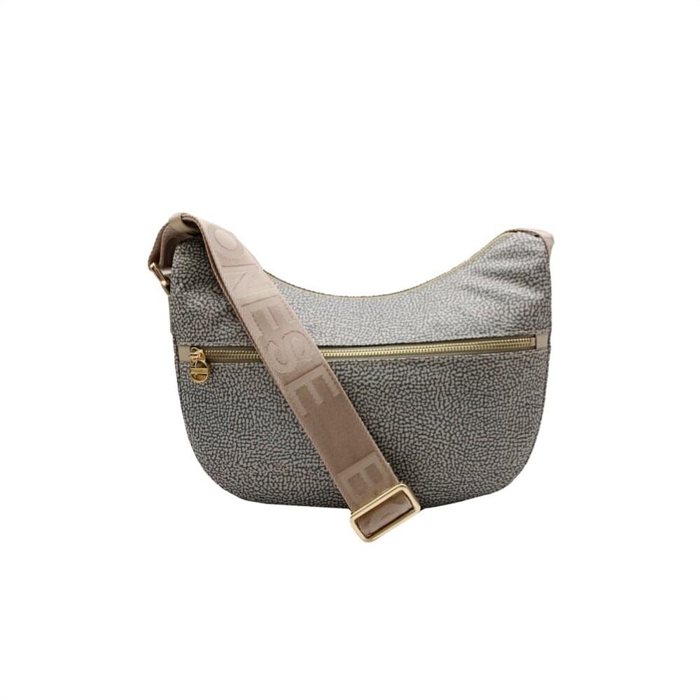 BORBONESE - Luna Bag Small Nylon OP con zip - Taupe