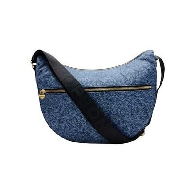 BORBONESE - Luna Bag Middle Nylon OP con zip - Blue/Black