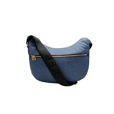 BORBONESE - Luna Bag Small Nylon OP con zip - Blue/Black