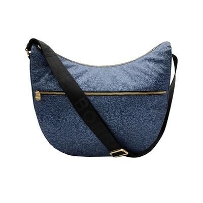 BORBONESE - Luna Bag Medium Nylon OP con zip - Blue/Black
