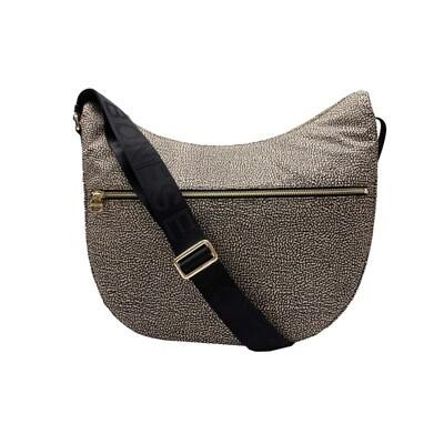 BORBONESE - Luna Bag Medium Nylon Riciclato OP con zip - OP Natural/Black
