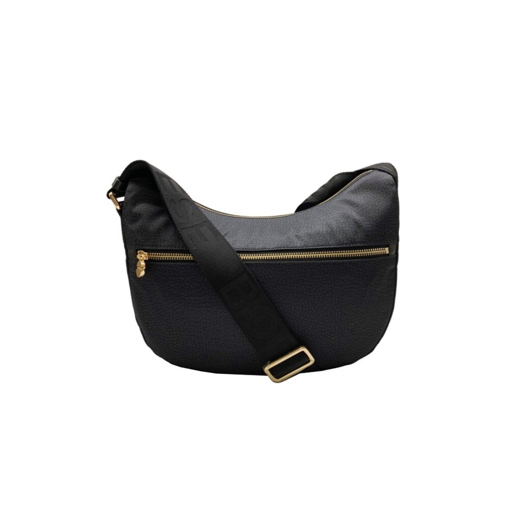 BORBONESE - Luna Bag Small Nylon Riciclato OP con zip - Black