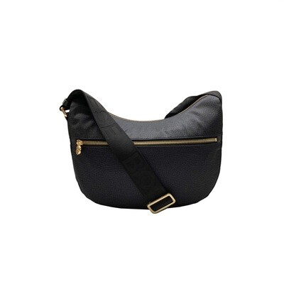 BORBONESE - Luna Bag Small Nylon Riciclato OP con zip - Black