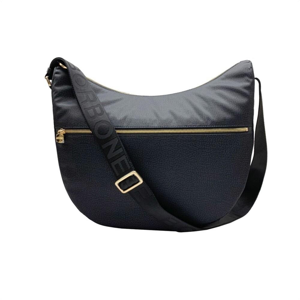 BORBONESE - Luna Bag Medium Nylon OP con zip - Black