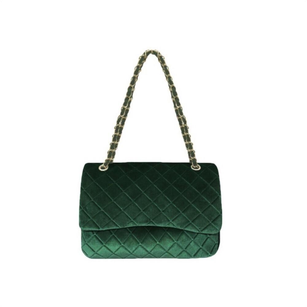 MIA BAG - Tracolla Media Rombi in velluto Personalizzabile - Verde