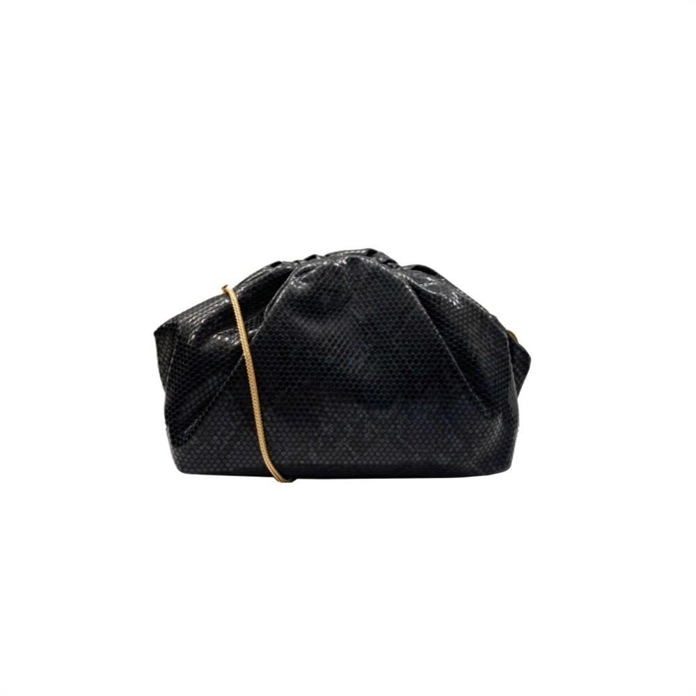 MIA BAG - Clutch Pitonata Media Personalizzabile - Nero