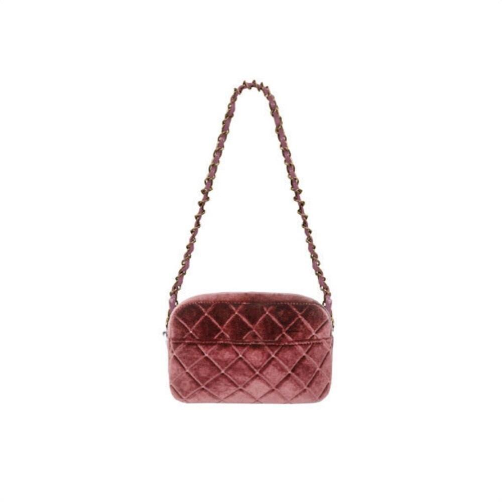 MIA BAG - Tracollina Zip Rombi in velluto Personalizzabile - Cipria