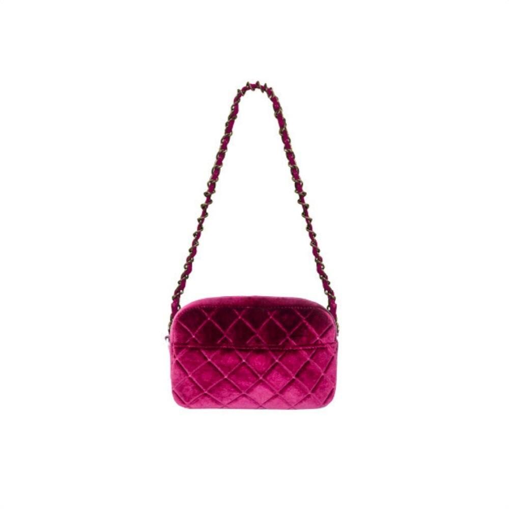 MIA BAG - Tracollina Zip Rombi in velluto Personalizzabile - Fuxia