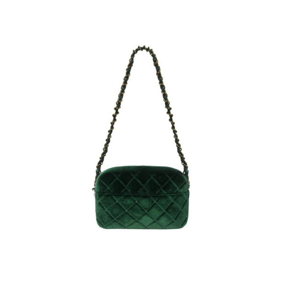MIA BAG - Tracollina Zip Rombi in velluto Personalizzabile - Verde