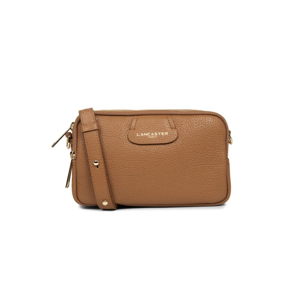 LANCASTER - Dune Small tracolla tre zip - Camel