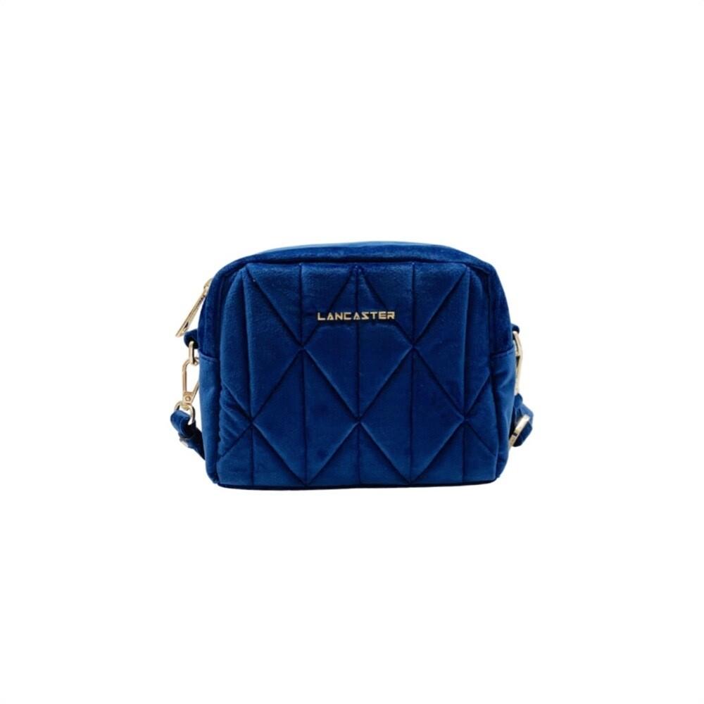 LANCASTER - Actual Velvet Matelassé Crossbody Small - Bleu