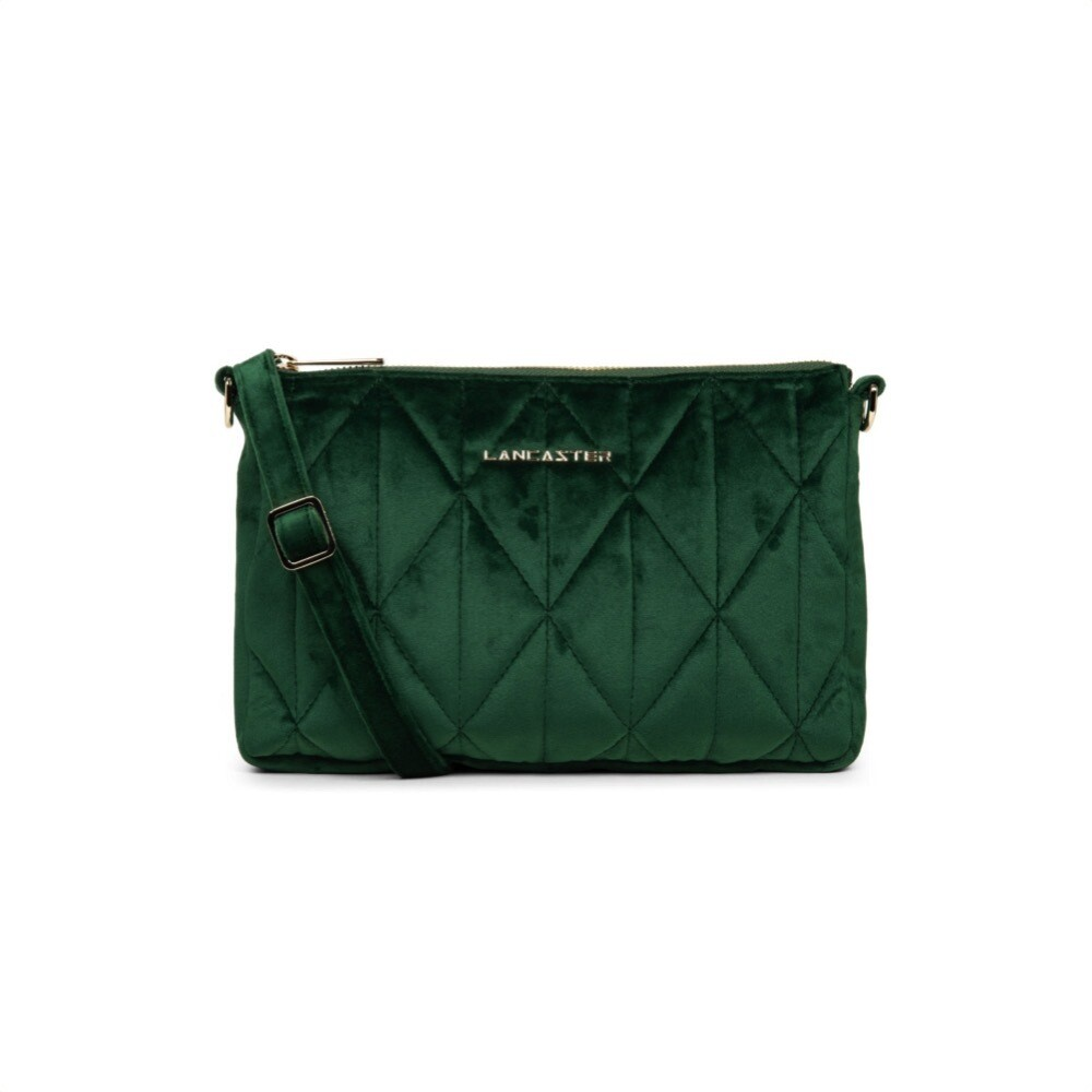 LANCASTER - Actual Velvet Matelassé Clutch  Medium - Vert