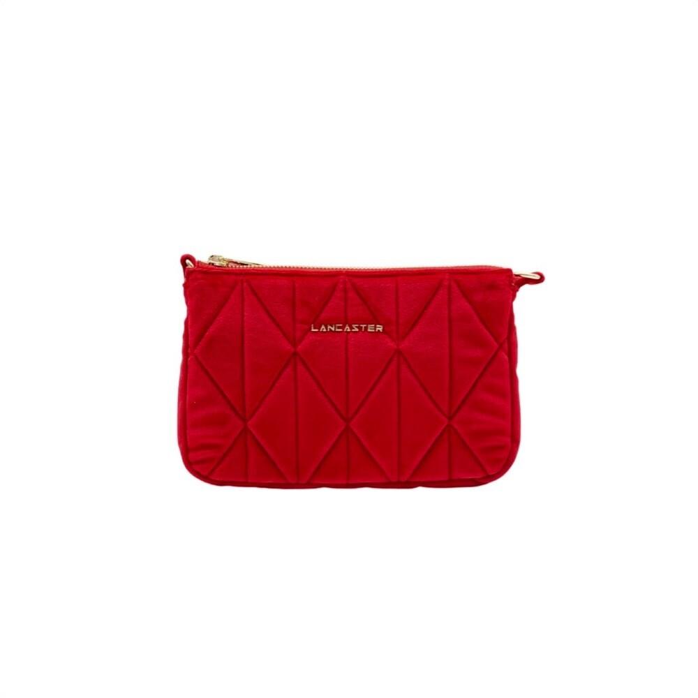 LANCASTER - Actual Velvet Matelassé Clutch  Small - Rouge