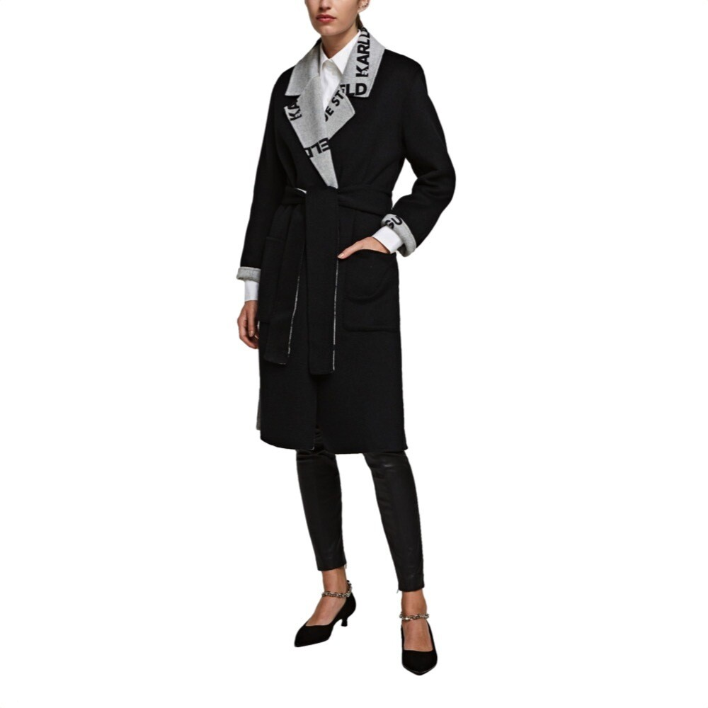 KARL LAGERFELD - Cappotto Incrociato Reversibile - Black/Gray