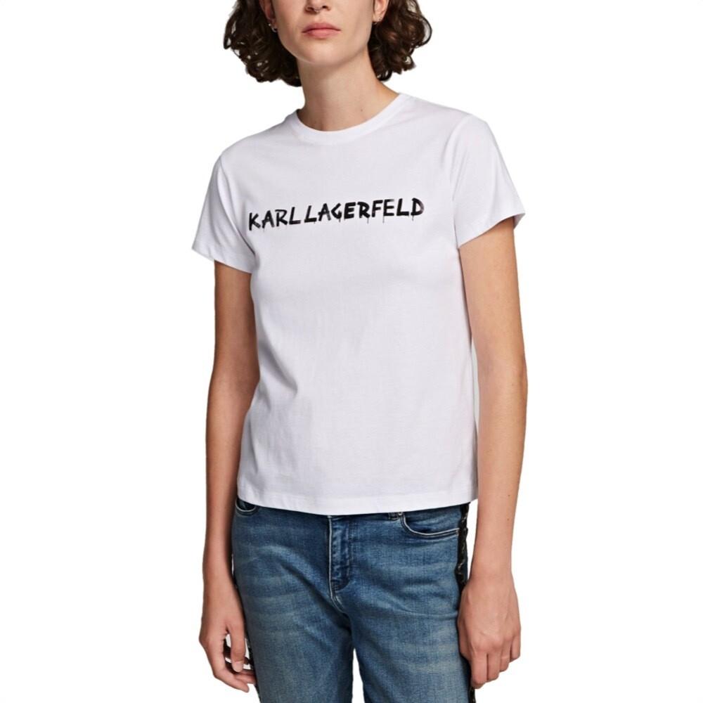KARL LAGERFELD - T-shirt con logo graffiti - White