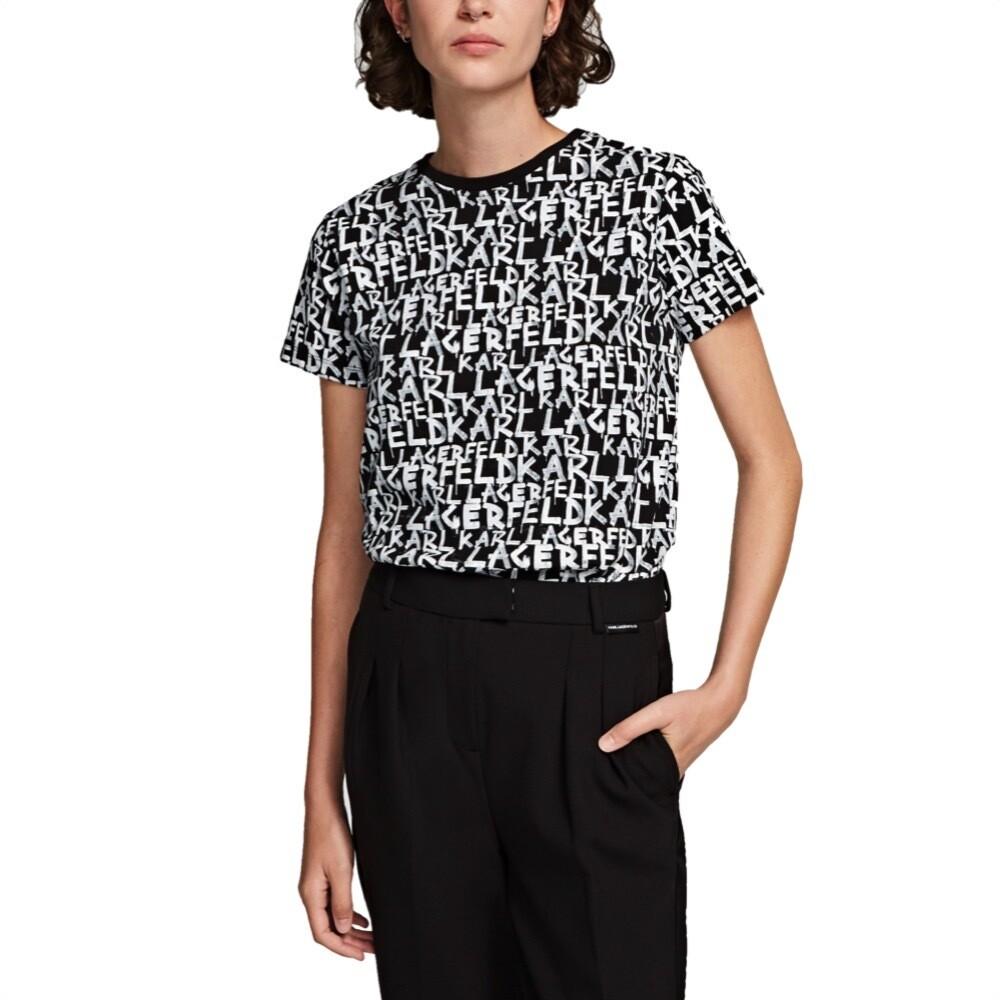 KARL LAGERFELD - T-shirt con stampa graffiti - Black/White