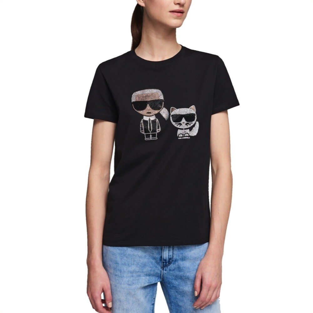 KARL LAGERFELD - T-shirt Ikonik Karl & Choupette - Black