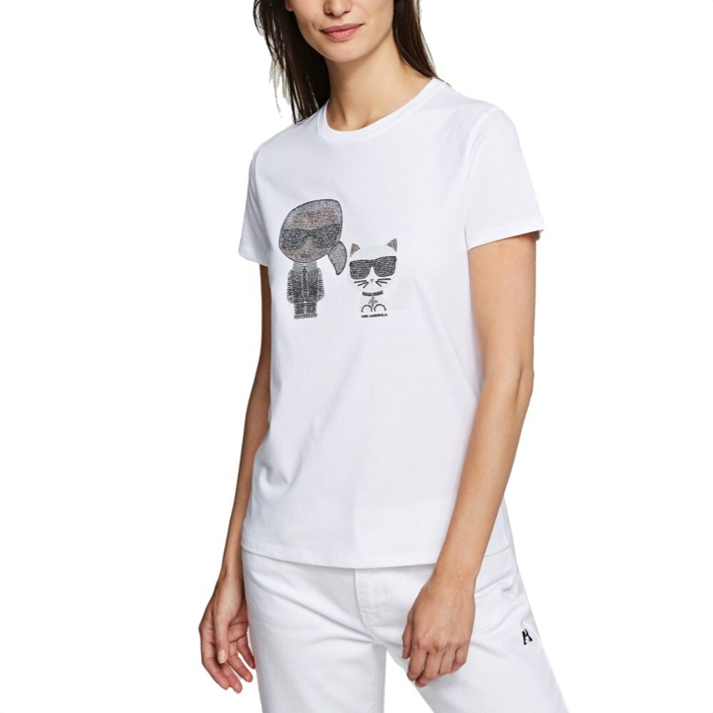 KARL LAGERFELD - T-shirt Ikonik Karl & Choupette - White
