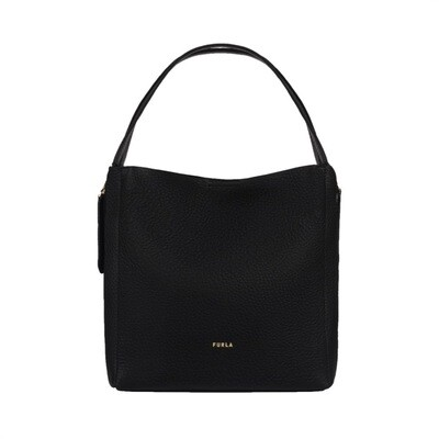FURLA - Grace M Hobo zip laterali - Nero/Talco