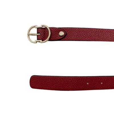 COCCINELLE - Cintura Double C in pelle - Foliage Red